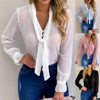 Women Long Sleeve Sexy Chiffon Sheer Mesh Tieup Dot See Through Top Shirt Blouse