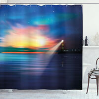 Lighthouse Shower Curtain Majestic Sky Beach Print for Bathroom