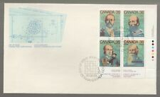 1987 Canada Science and Technology Inventors Plate Block FDC. First day Cover