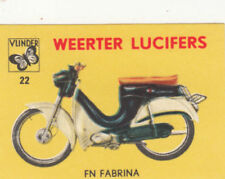 FN FABRINA Motorbike BIKE MOTO CYCLE IMAGE CARD MATCHBOX LABEL 60s