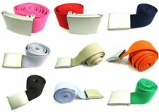 Unisex Quality Cotton/Canvas Fabric Plain Webbing Belt Silver Buckle Up To 52''