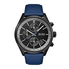 Hugo Boss HB 1513563 Grand Prix Blue Leather Band Chronograph Men's Watch