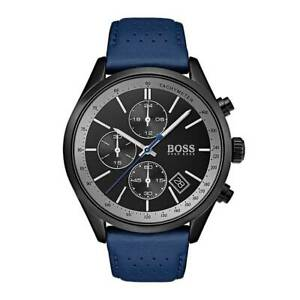 Hugo Boss HB 1513563 Grand Prix Blue Leather Band Chronograph Men's Watch