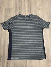 Lululemon Dblv Grey Green Stripe T.H.E. Crew Ss Top Shirt Men's Xl