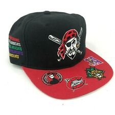 Vintage Pittsburgh Pirates Snapback Hat Minor League Affiliations Black Red