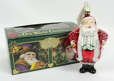 Old World Christmas Ornament Candy Cane Santa Clause Blown Glass With Box