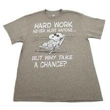 Peanuts Snoopy Mens T Shirt Size Large Hard Work Never Hurt Anyone