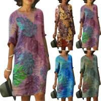 Ladies V Neck Print Boho T-Shirt Shift Dress Holiday Tunic Tops Plus Size 8-22
