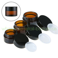 Empty 20g 30g 50g Amber Glass Jars Container Cosmetic Cream Lotion Bottles Pot