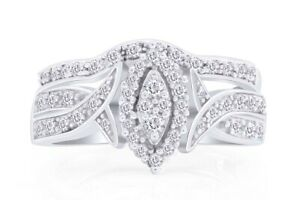 Simulated Diamond Engagement & Wedding Fashion Ring In 10K Sollid Gold
