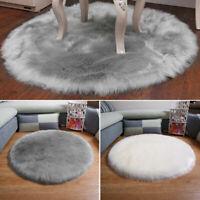Tapis moelleux doux peau mouton fausse fourrure laine shaggy poilu tapis rond G