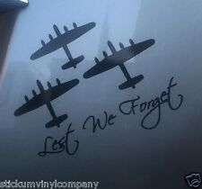 3 Lancasters Lest We Forget Car Decal/Sticker BBMF*WW2*Just Jane*Thumper*Vera*