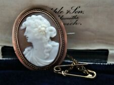 Antique Victorian 9 ct Gold Shell Cameo Left Facing Female Portrait Brooch Pin