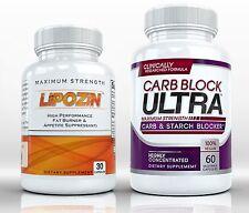 BEST Fat Burning Diet Pills Combo LIPOZIN + CARB BLOCK ULTRA Lose Weight Fast