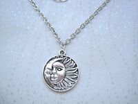 CRESCENT MOON & SUN Disc Charm Necklace Silver Plated Chain GIFT POUCH Celestial