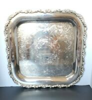 """Vintage~Oneida Silverplate Large Heavy Square Ornate Serving Tray Platter 15"""""""