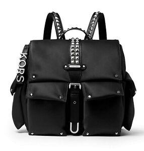 Michael Kors Backpack Bag Olivia Md Flap Backpack Black New