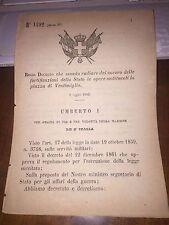REGIO DECRETO 1883 manda radiare fortificazioni  stato PIAZZA DI VENTIMIGLIA