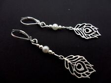 A PAIR  TIBETAN SILVER LEAF/FEATHER & WHITE BEAD  LEVERBACK HOOK EARRINGS. NEW.