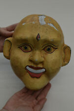 Antique Hand Carved Japanese Wooden Face Mask Wall Art