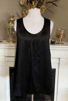 Eileen Fisher Black Silk Scoop Neck Sleevelesss Blouse Size M
