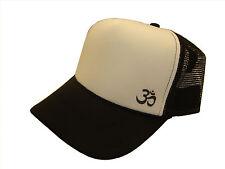 Sacred Om Yoga Symbol Side Logo Black & White Mesh Trucker Cap Caps Hat Hats