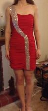 Size 8 Red Knee Length Formal Dress with Silver Sequin Strap