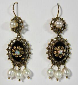 Vintage 14K Yellow Gold Onyx, Opal & Pearl Dangle Drop Earrings 8.7G