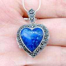 P572  Pendentif Coeur ouvrant Porte-photo Argent 925 Lapis Lazuli Marcassites