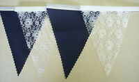 Vintage Bunting NAVY BLUE & WHITE LACE Wedding Party Decoration 1 mt or more