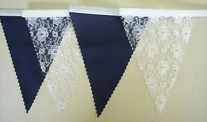 Vintage Bunting NAVY BLUE & WHITE LACE Wedding Party Decoration 2 mt or more