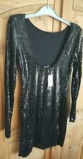 warehouse black sequin dress size 12 bnwt gloss collection