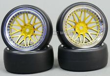 RC 1/10 DRIFT WHEELS TIRES Package 9MM Offset GOLD W/ CHROME Lip 3 Piece