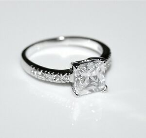 STERLING SILVER 7MM 1.6CT PRINCESS CUT CUBIC ZIRCONIA CZ SOLITAIRE RING