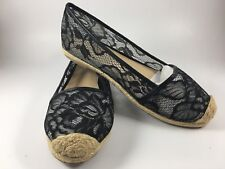 Victorias Secret Black Lace Shoe Flat 6.5 Espadrilles Flats Slide On Angel Wings