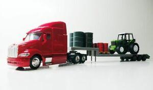 Peterbilt Semi Lowboy Trailer with Tractor & Fuel Barrels 1/43 Trucks  Diecast