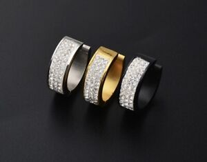 Stainless Steel Men's SINGLE Huggie Hoop Diamond 20mm Earrings