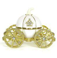 White Gold Rhinestone Princess Cinderella Crystal Pumpkin Carriage Trinket Box