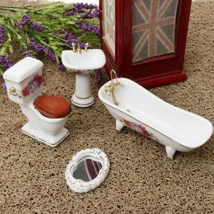 1/12 Dollhouse Miniature Bathroom Porcelain Furniture Kits Set of 4 Pieces