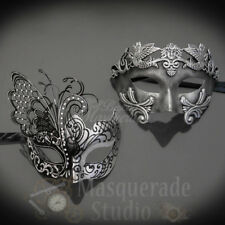 His & Her's Couples Silver Roman and Dream Butterfly Costume Masquerade Mask Set
