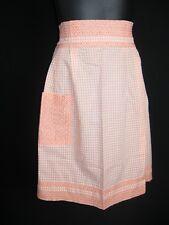 Vintage Half Cotton Orange cross stitch Apron Euc! Med.