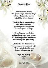 wedding day thank you gift mum dad of the bride or groom poem a4
