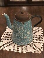 "Vintage Enamel Blue and White Swirl with Gooseneck 10"" Coffee Pot -rivet handle"