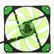 4Pin/3Pin 120mm PC Cooling Fan Round Quad 15 LED Green 9 Blades Silent Quiet 12V