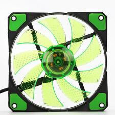 Grün 15-LED 3 Pin/4 Pin  Computer Gehäuse CPU-KüHler Lüfter PWM PC 120mm NEU
