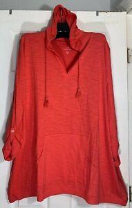 New J Jill Plus size 2X Woman Tab sleeve knit Hoodie coral Pima Cotton