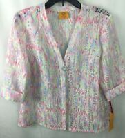 Ruby Rd. Top Blouse Size PL Petite Hello Spring 3/4 Sleeve Sheer 38333 Pink F22