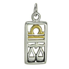 Libra Sign Sterling Silver Zodiac Pendant Charm Astrology Gold Plated Jewelry
