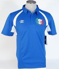 Umbro Moisture Wicking Italia Blue Short Sleeve Polo Shirt Mens Nwt