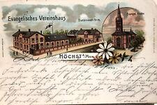 17733 Litho AK Frankfurt Höchst a. Main evangelisches Vereinshaus u. Kirche 1905